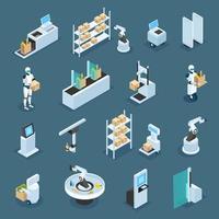 tiendas automatizadas iconos isométricos vector illustration