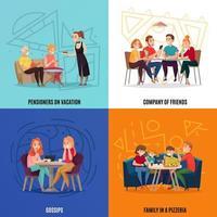Ilustración de vector de concepto de visitantes de pub de restaurante