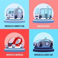 Ilustración de vector de concepto de vehículos autónomos sin conductor