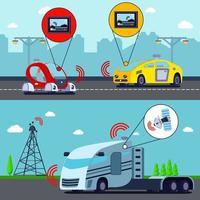 Ilustración de vector de banners de vehículos autónomos sin conductor