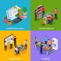 Advertising Agency Isometric Design Concept Vector Illustration