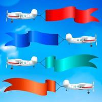 Airplanes Flags Banners Realistic Vector Illustration