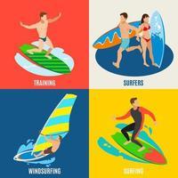 Surfing Isometric Design Concept Vector Illustration
