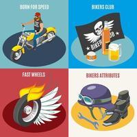 Bikers Isometric Design Concept Vector Illustration