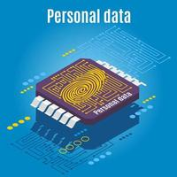 Microchip Biometrics Isometric Background Vector Illustration
