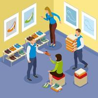 Shoe Buying Isometric Composition Vector Illustration
