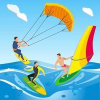 Open Sea Surfing Composition Vector Illustration