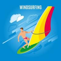 Ilustración de vector de fondo isométrico de windsurf