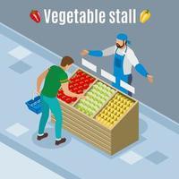 Verduras compran ilustración de vector de fondo isométrico