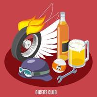 Bikers Attributes Isometric Composition Vector Illustration