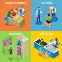 Shopping People Isometric Design Concept Vector Illustration