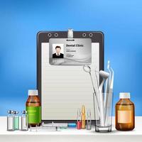 Ilustración de vector de composición realista de cuidado dental