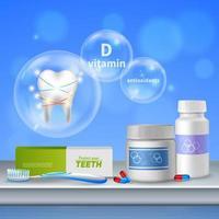 Ilustración de vector realista de cuidado dental de diente
