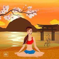 Sakura And Yoga Composition Vector Illustration
