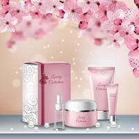 Sakura Colored Poster Vector Illustration
