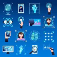 Identification Technologies Icons Set Vector Illustration