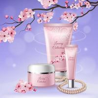Sakura Tubes Of Cosmetics Composition Vector Illustration