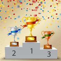 Realistic Pedestal With Trophies Composition Vector Illustration