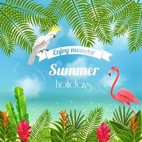 Enjoy Tropical Summer Background Vector Illustration