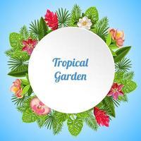 Tropical Garden Round Composition Vector Illustration