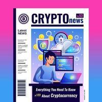 Ilustración de vector de portada de revista blockchain de criptomoneda