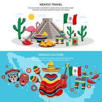 Ilustración de vector de banners de viaje de méxico