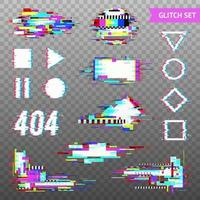 Digital Elements In Distorted Glitch Style Vector Illustration