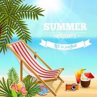 Holidays Beach Lounge Background Vector Illustration