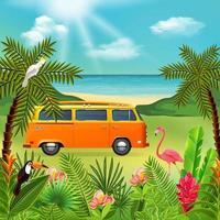 Hippie Van Holidays Composition Vector Illustration