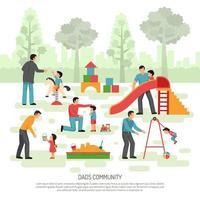 Ilustración de vector de composición de comunidad de papá de niños
