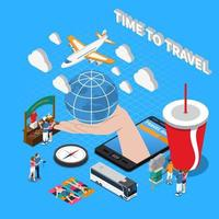 Time To Travel Isometric Composition Vector Illustration