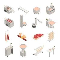 Sausage Factory Isometric Icons Vector Illustration