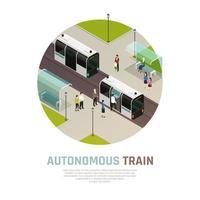 Autonomous Train Isometric Composition Vector Illustration