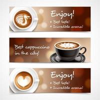 Ilustración de vector de banners horizontales de publicidad de café