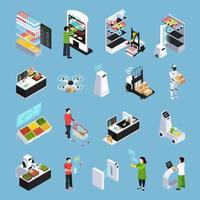 Shop Of Future Isometric Icons Vector Illustration