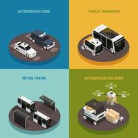 Ilustración de vector de concepto de diseño isométrico de vehículos autónomos