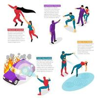 Super Hero Isometric Infographics Vector Illustration