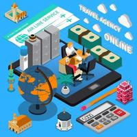 Travel Agency Isometric Composition Vector Illustration