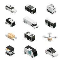 Ilustración de vector de iconos isométricos de vehículos autónomos