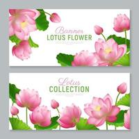 Realistic Lotus Banners Vector Illustration