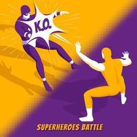 Superhero Battle Isometric Vector Illustration