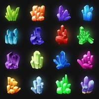 Realistic Colorful Crystals On Black Background Vector Illustration