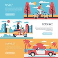 People Transport Flat Banners Vector Illustration