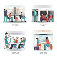 People Transport Flat Concept Vector Illustration