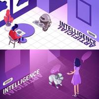 Artificial Intelligence Isometric Banners Vector Illustration