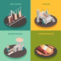 Sausage Factory Isometric Design Concept Vector Illustration