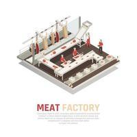 Ilustración de vector de composición isométrica de fábrica de carne