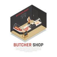Butcher Shop Isometric Composition Vector Illustration