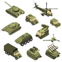 Ilustración de vector de conjunto isométrico de vehículos militares