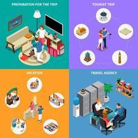 Travel Agency 2x2 Design Concept Vector Illustration